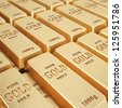 rows of gold bars. - stock photo