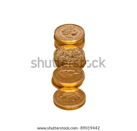 Rows of gold sovereigns isolated - stock photo