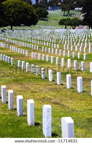 Rows of headstones at Fort Rosecrans National Cemetery in San Diego, California