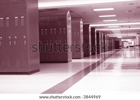 Rows of lockers in a modern high school; great for back to school usage - stock photo