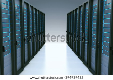 Rows of network servers in data center with reflection effect - stock photo