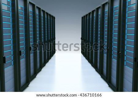 Rows of network servers in data center with reflection effect. 3d illustration - stock photo
