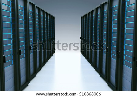 Rows of network servers in data center with reflection effect. 3d illustration
