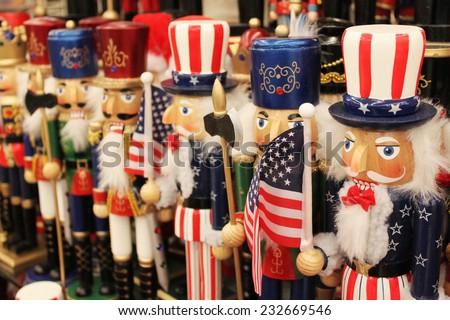 Rows of nutcrackers - stock photo
