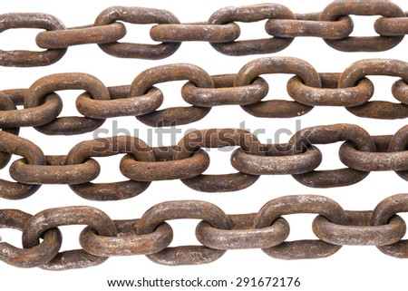 Rows of old iron rusty chain links isolated on white background  - stock photo
