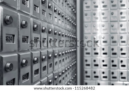 Rows of personal mailboxes