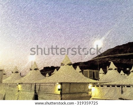 Rows of pilgrims tents in Mina Saudi Arabia in evening pencil sketch illustration. These & Rows Pilgrims Tents Mina Saudi Arabia Stock Illustration 319359725 ...