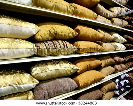 Rows of pillows - stock photo