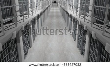 Rows of prison cells, prison interior. - stock photo
