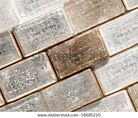 rows of pure silver bars - stock photo