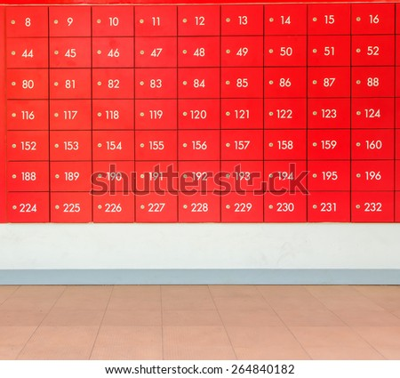 Rows of red  post office boxes. - stock photo