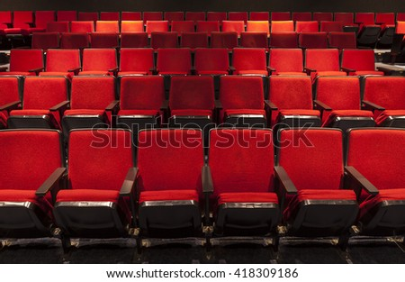 Rows of Red Theater Seating