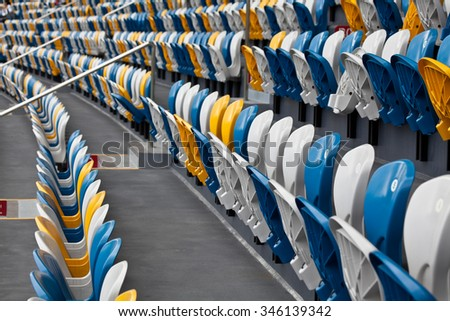 Rows of seats in a public stadium