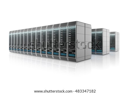 Rows of servers in data center isolated on white background. 3D illustration.