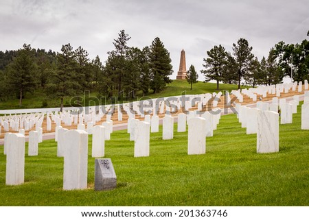 rows of tombstones in a military graveyard with bright green spring grass