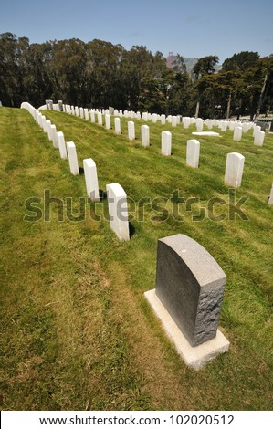 Rows of white marble headstones in a row in a cemetery.