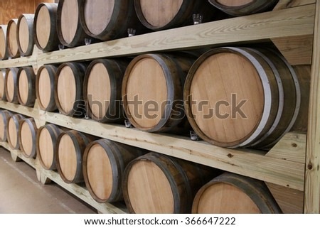 Rows of wine barrels stretching back to perspective - stock photo