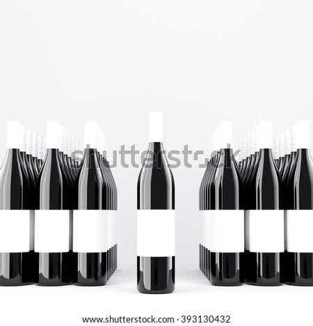 Rows of wine bottles, one bottle in space between them, blank labels on them. Dark glass. Concept of bottling wine. Mock up. 3D rendering. - stock photo