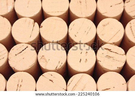 Rows of wine corks arranged in a pattern - stock photo