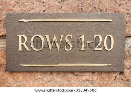 Rows 1 Through 20 Sign at Red Rocks Outdoor Amphitheater - stock photo