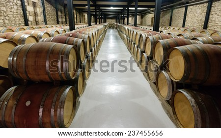 Rows with many  barrels in  winery factory  - stock photo