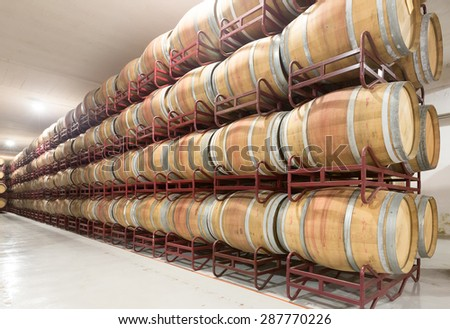 Rows with wooden barrels in  wine factory  - stock photo