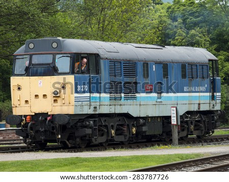 Rowsley,near Matlock,Derbyshire,Britain. May 27th 2015.The diesel locomotive Athena is prepared for service at Peak Rail's heritage railway station platform.