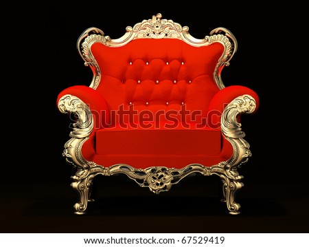 Royal armchair with gold frame isolated on black background - stock photo