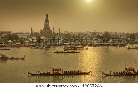 Royal Barge Procession on river Wat Arun,Thailand - stock photo