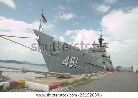 Royal battleship of Thailand with Thailand national frag in front of boat - stock photo