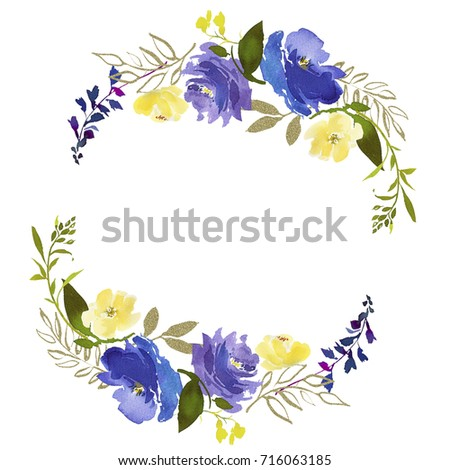 Royal Blue Violet Yellow Watercolor Floral Stock