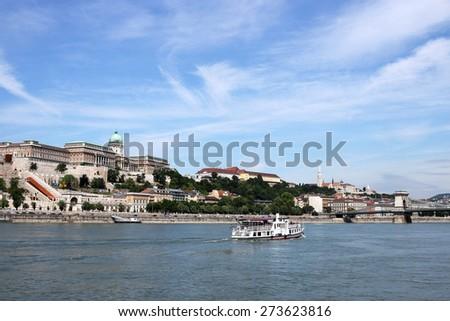 Royal castle Danube riverside Budapest Hungary - stock photo