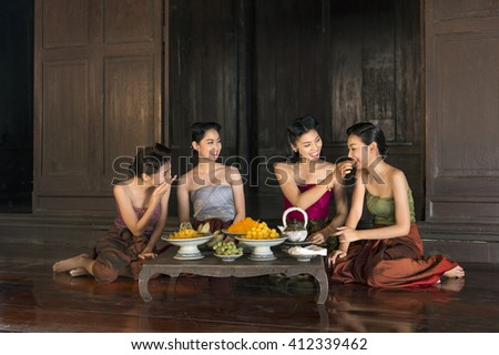 royal court concubine relax  - stock photo