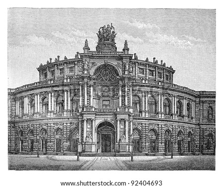 Royal Court Theater in Dresden (Germany) / vintage illustration from Meyers Konversations-Lexikon 1897 - stock photo