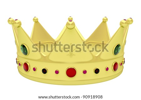 Royal crown isolated on white - stock photo