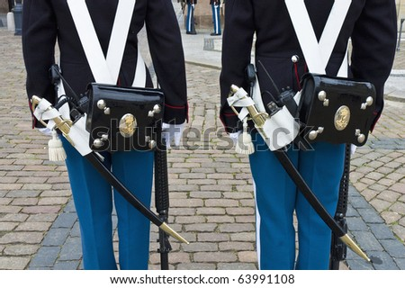 Royal Denmark guard change at Amalienborg square, Copenhagen - stock photo