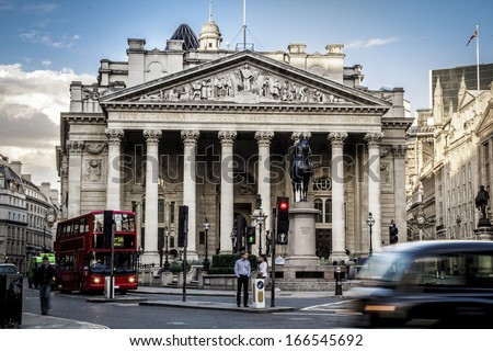 Royal Exchange, London With Red doubledecker - stock photo