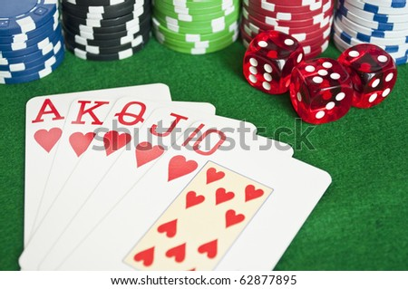 Royal flash with colorful chips and dice