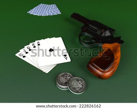 Royal Flush and gun - stock photo