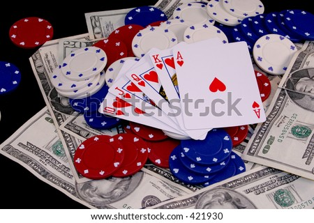 Royal Flush - Hearts (close-up) - stock photo