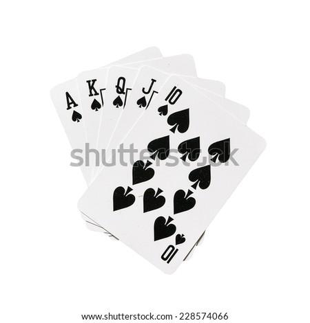 royal flush in spades - stock photo