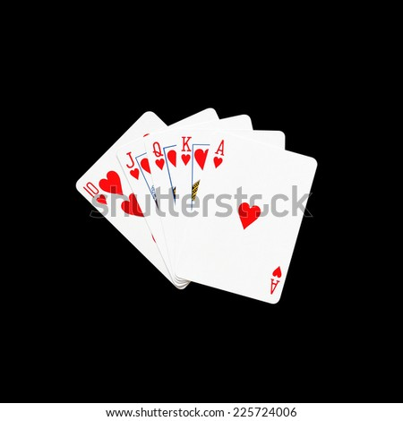 Royal Flush of heart in poker game on a black background - stock photo