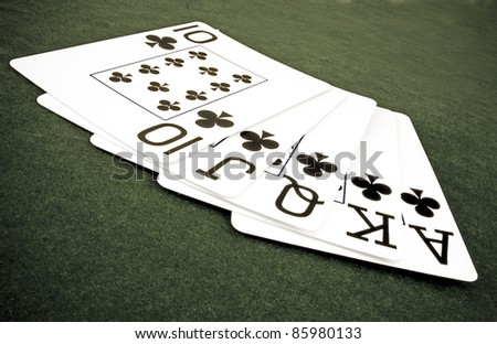 royal  flush  of playing cards - stock photo
