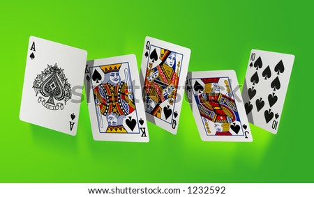Royal flush the highest hand in poker - large resolution file - stock photo