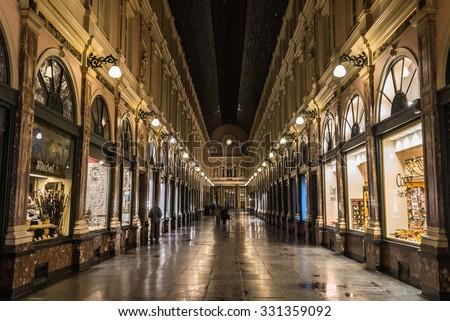 Royal galleries of Brussels Saint-Hubert  (Galerie du Roi, Galerie du Reine) - OCTOBER 06 2015 - BRUSSELS, BELGIUM - stock photo
