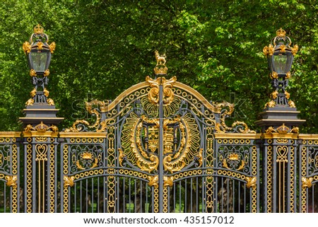 Royal gate at Buckingham during a sunny day - stock photo