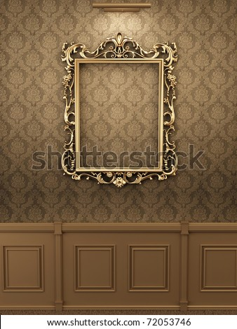 Royal golden frame on the wall in wooden interior. Gallery - stock photo