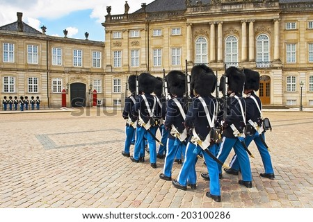 Royal Guard in Amalienborg Castle in Copenhagen in Denmark - stock photo