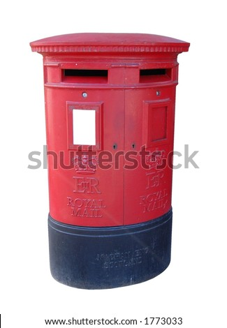 Royal Mail post box with copyspace, isolated