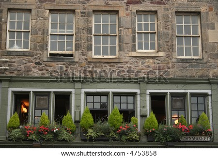 Royal Mile architecture Edinburgh with window boxes